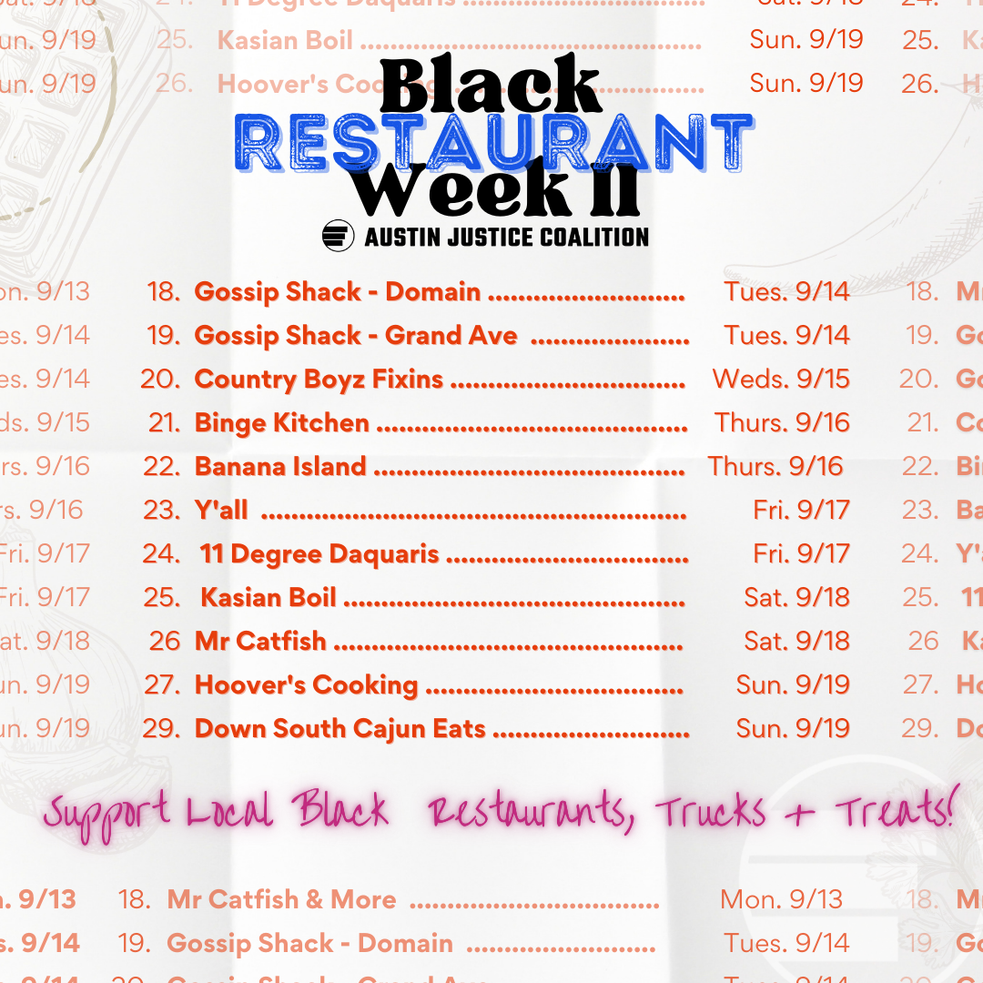 Image listing the restaurant selection for Black Restaurant Week #2 in the style of a menu